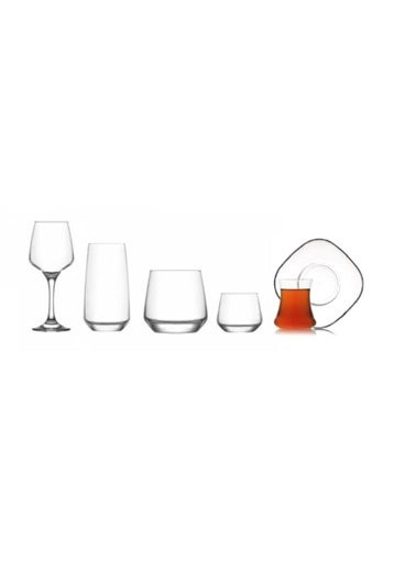 Lav Lal Çeyiz Seti 36 Prç. Su Bardak - Bardağı - Meşrubat Bardağı Renkli